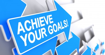 Achieve Your Goals - Blue Cursor with a Inscription Indicates the Direction of Movement. Achieve Your Goals, Inscription on Blue Pointer. 3D Render.