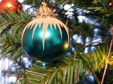 blue ball toy on christmas tree
