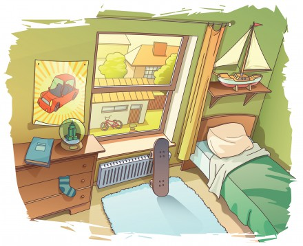 A bit messy room of a young boy. There are a skateboard near the window and the BMX bicycle outside on a backyard.  Includes: the Illustrator 10.0 layered editable vector EPS file and the Hi-res JPG. Please rate it if you like it. Enjoy!
