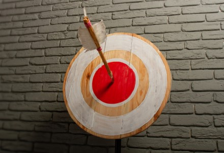 Rough wooden target with a single arrow caught right in the center of a red circle against a gray brick wall
