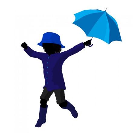 Rain boy illustration silhouette on a white background
