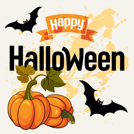 Halloween vector illustration. Greeting card with attributes of Halloween