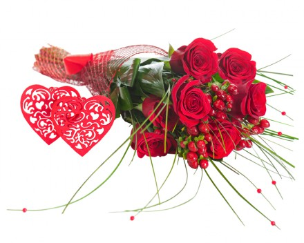 Colorful Flower Bouquet from Red Roses and Two Hearts Isolated.